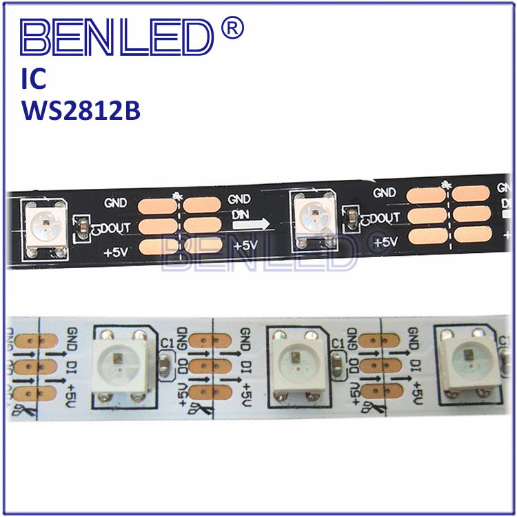 Newly SMD5050 WS 2812B Pixel 144 <strong>LEDs</strong>/M Addressable Ic Built In Chip Colorful 12mm RGB Flexible <strong>LED</strong> WS2812B IC Strip Light