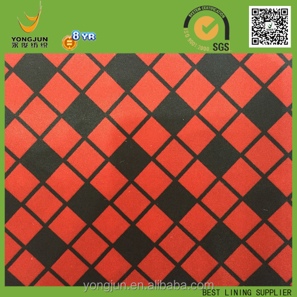 polyester satin black and red check pritn fabric for women wind coat