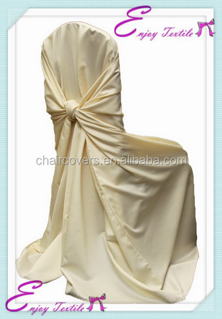 YHC#17 satin universal polyester banquet plain dyed cheap wholesale chair covers for plastic chairs