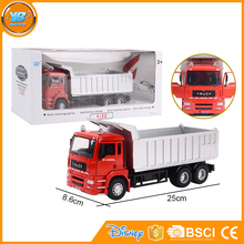 Yibao kids 1:32 scale alloy metal diecast free wheel small toy dump truck with door can open