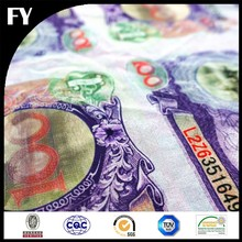 Factory digital printed fabric money print in high quality