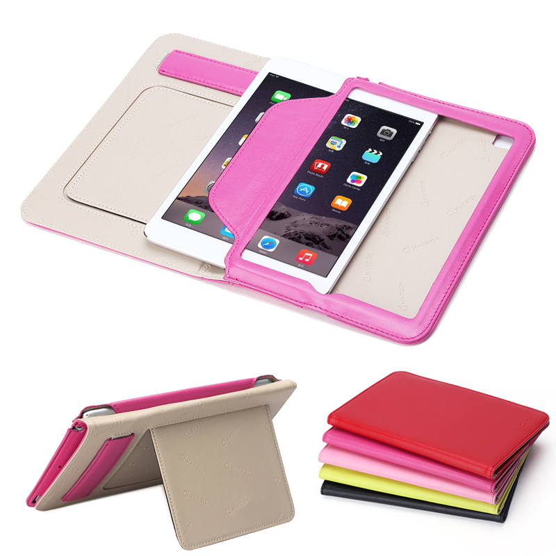 2015 new Folded flip stand leather case for Apple ipad mini 4