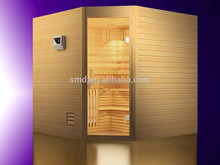 smartmak Canada hemlock traditional steam corner sauna cabin, wooden house design health and beauty sauna room
