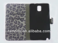 For Samsung N9000 Galaxy Note 3 Leopard Skin Case Flip Wallet Case Cover with Card Holder