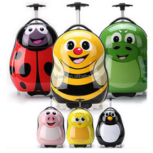 Popular sweet desings animal cartoon children rolling trolley hard case kids luggage