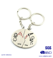 Professional super quality alloy couple metal key chains