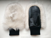Woman PU Leather Glove with Fake Fur Cheap Leather Gloves White