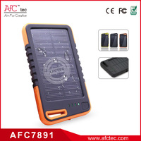 4000mah waterproof two usb port led power bank solar charger
