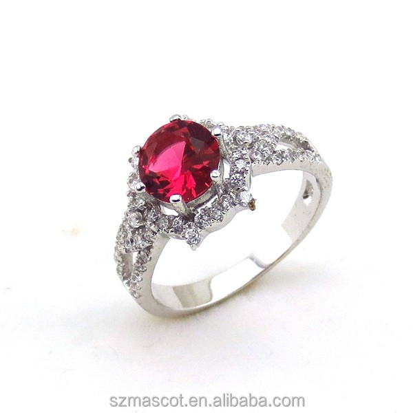 2017 New Gift 925 Silver CZ Crystal Ruby Diamond handmade Wedding <strong>Ring</strong>