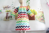 Fancy Toddler Knit Short Sleeve Comfortable Wear Cotton Frock For Girls Colorful Baby Girls Chevron Peasant Dress