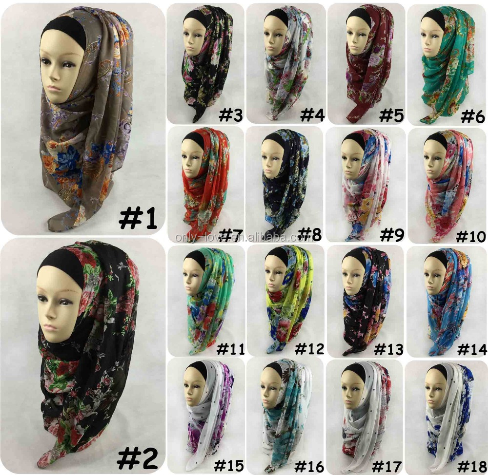 New design chiffon flower printed Muslim Hijab long scarf,long shawls,can choose colors QK040
