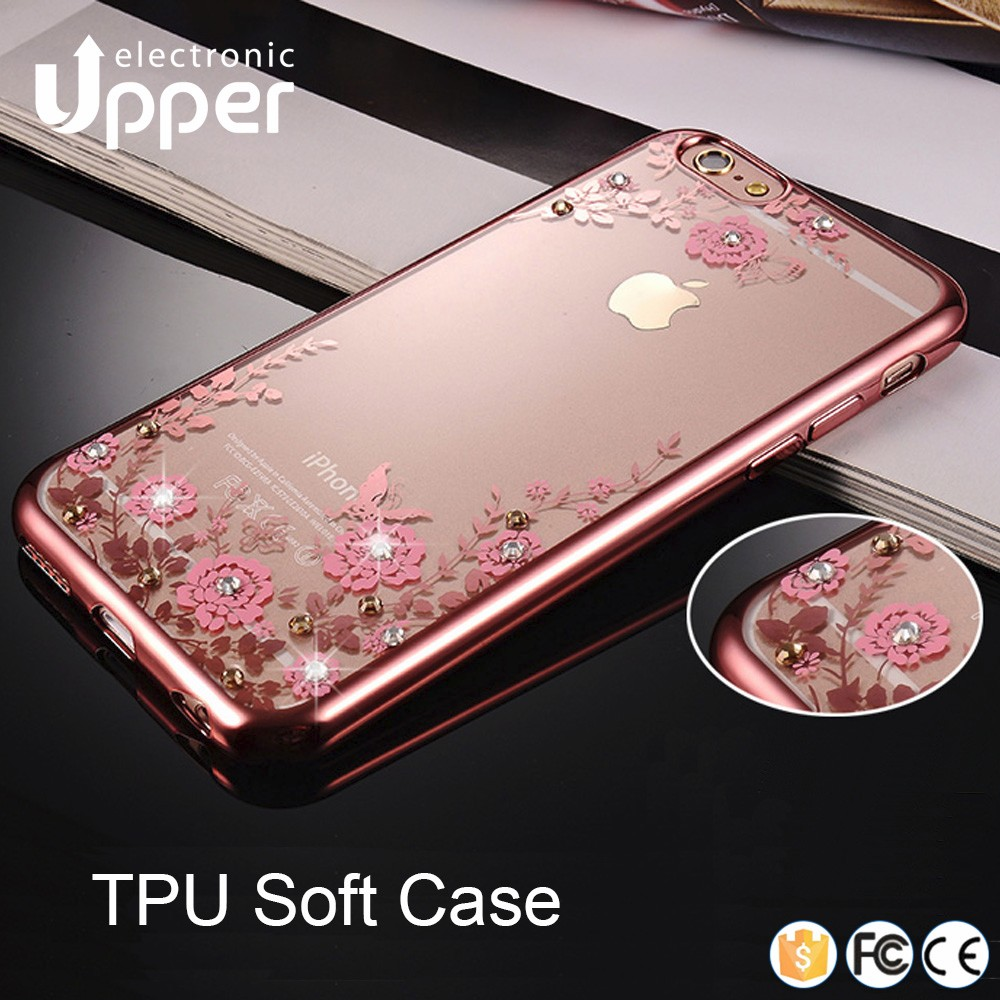 High quality mobile phone cover with diamond clear cases with print sublimation clear case for iphone 5 5C 6 6s