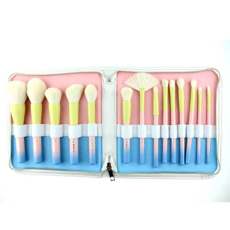 Bona 14pcs/set 2017 maquiagem makeup brush set gradient color rainbow makeup brush