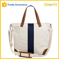 Custom Single Stripe Canvas leather Bag With Detachable Shoulder Strap