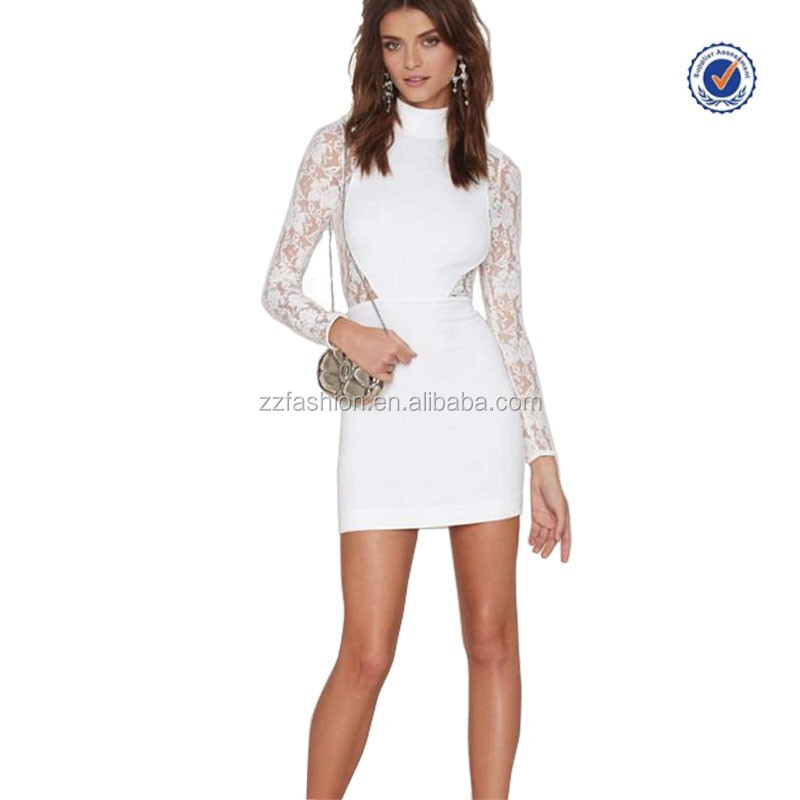 2015 long sleeve white lace bodycon sexy short dress cheap wholesale alibaba evening dresses