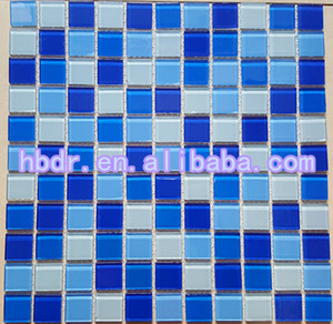 Hot Sell For 4mm Swimming Pool White Mixed Ocean Blue Glass Mosaic Tile