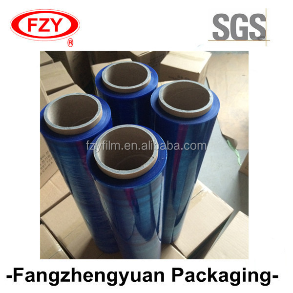 100% virgin material blue LLDPE stretch film 15mic for pallet wrapping