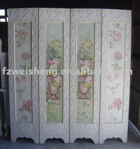 Wooden 4-Panel Folding Screen/Room Divider with Hand-Painted Flowers