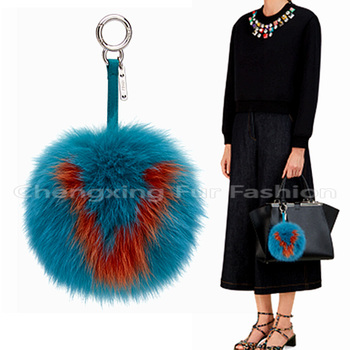 CX-R-38 Highly Genuine Fox Fur Ball Keychain Trinket Alphanumeric Bags Accessories Key Chain