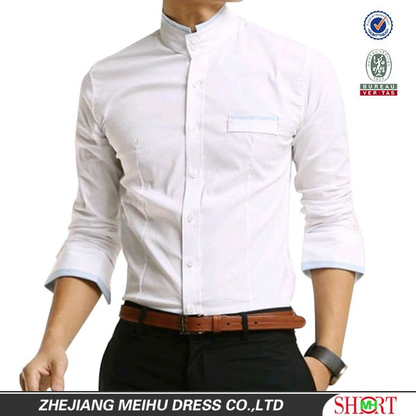 2016 Newest style 100%Cotton Business casual Banded collar Slim fit shirt for men