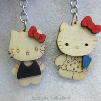 custom wood cat keychain