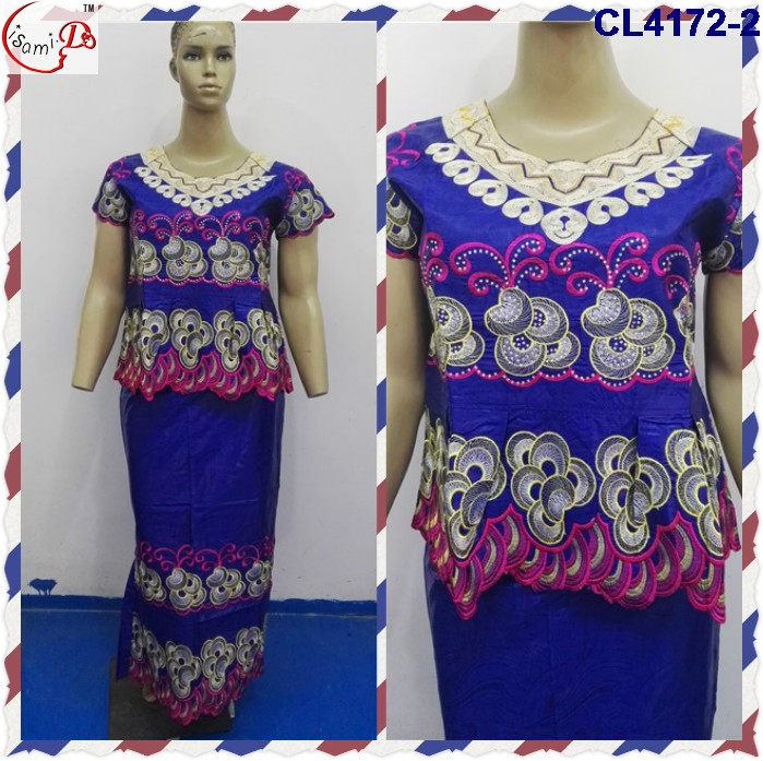 African Style Women Bazin excellent material ladies formal cotton riche dress