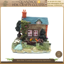 Landscape ornaments creative accessories resin miniature house figurines with solar light