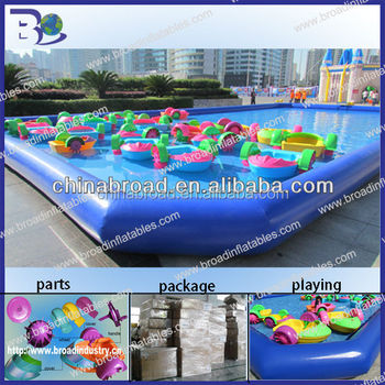 Durable 0.9mm tarpaulin floating inflatable boat swimming pool