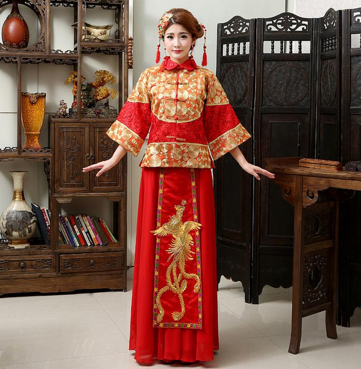 china custom made wedding party dress sale bridal gown china with dragon and phoenix