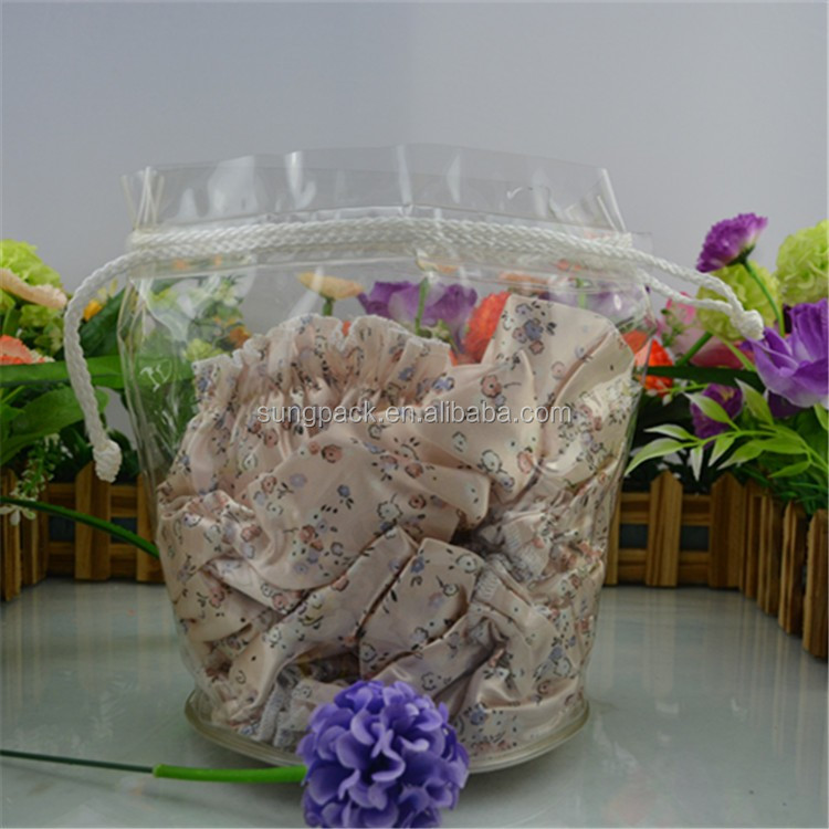 0.25mm Clear PVC Drawstring Bags for Suitcase Bikinis Swimsuits Garment T-Shirt Packaging