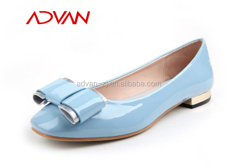 Wholesale MOQ5 Bright PU Heel Woman Low-cut Dresses Shoe Ladies Pretty Bow Shoes Online Sale