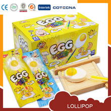 Yellow and white egg lighting candy lollipop stick