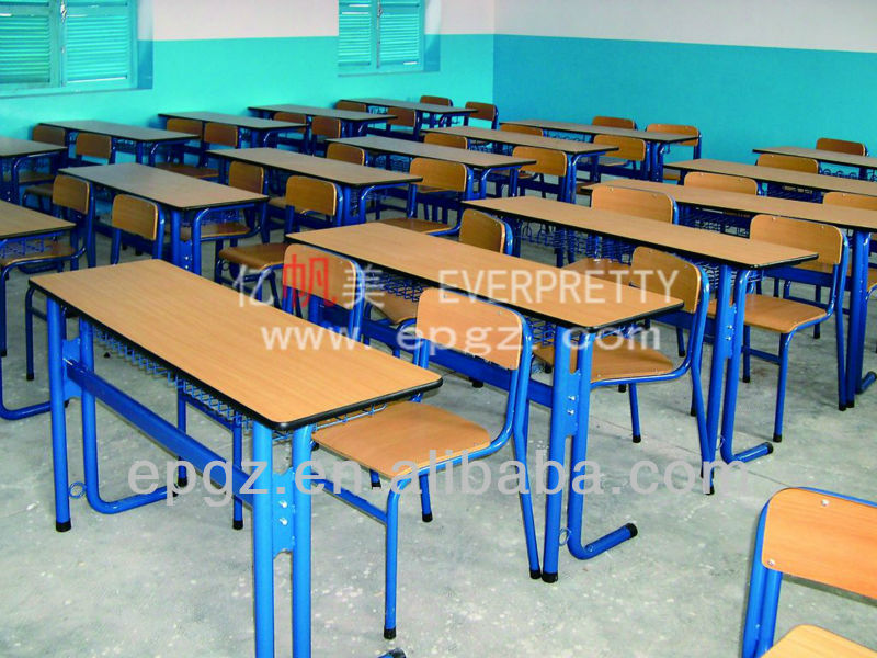 Double wooden school furniture for project, Student furniture with wire book Net for project