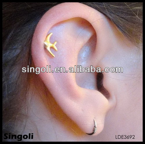 2014 alili new Korea simple flying pigeon earrings stud tiny ring