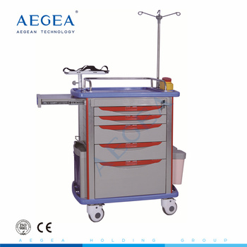 AG-ET001A1 ABS material emergency hospital nursing medicine trolley with wheels and five drawers
