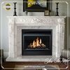 Simple White Marble Indoor Fireplace Surround Mantel