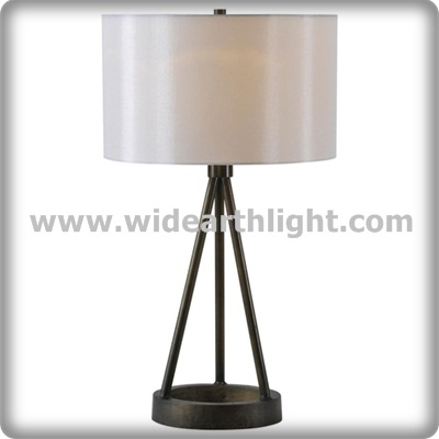 UL CUL Listed Drum Fabric Shade Hotel Bed Table Lamp In Black Finish T80373