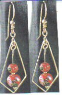 14kt Yellow Gold Cloisonne Dangle Earrings
