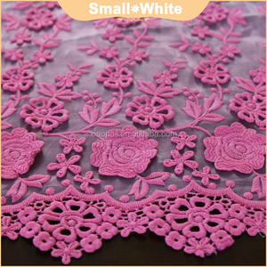 Lace 3d fabric rose red lace bridal embroidered fabrics for wedding dresses