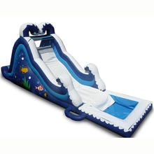newest design Ocean Wave inflatable water slide/ wet dry slide for sale