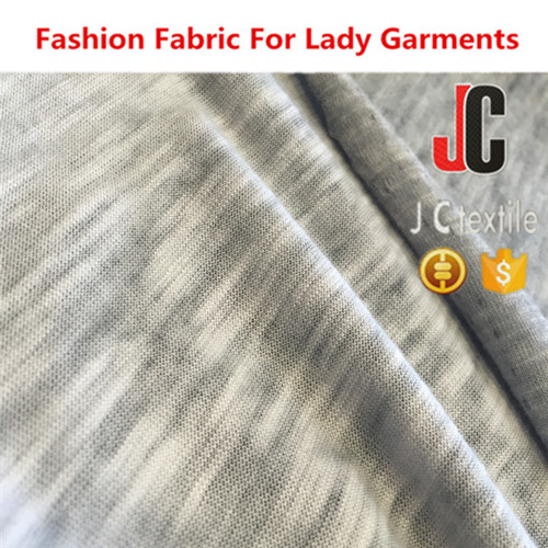 A2806 shaoxing JC T/C slub vintage fabric polyester cotton knit activewear fabric