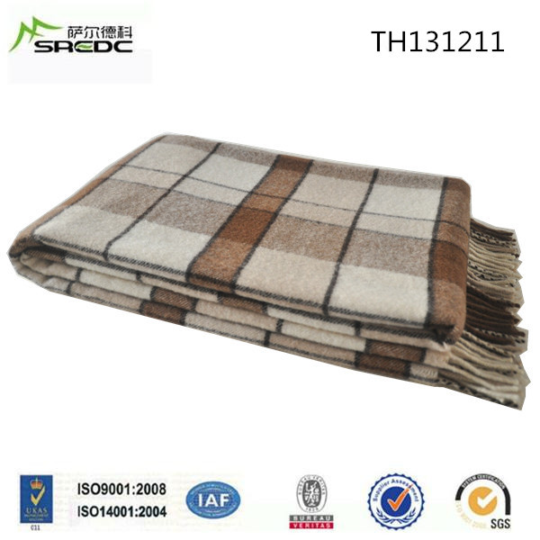Customized custom plaid 100% wool air conditioner blanket