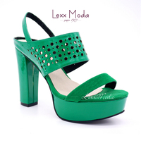 2016 New fashion green open toe casual high heel shoes for ladies party