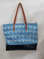 Printed promotion straw bag with leather handle tote bag women beach bag
