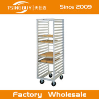 Commercial stainless steel #304 kitchen bakery pan trolley rack with heat-resistant wheels