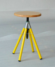 Unique design vintage adjustable rotatable barstool dining outdoor solid Wooden top table industrial