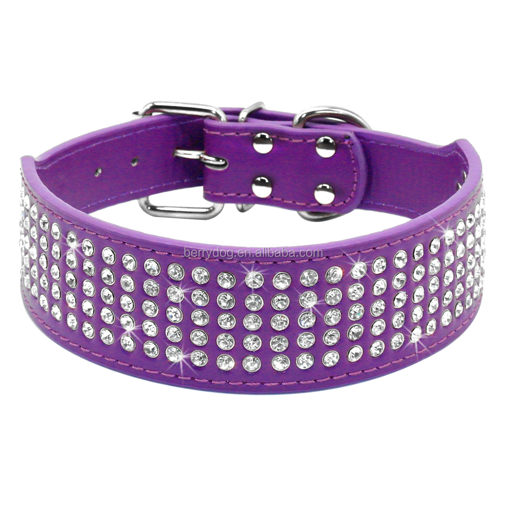 9 Colors 2 inch Wide 5 Rows Full Diamante Rhinestone leather dog collar