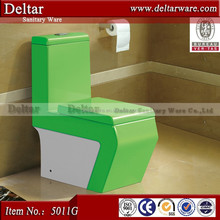 Bathroom green/white Color Ceramic Toilet, toilet bowl color for South Ameria, WDI dual flush fitting