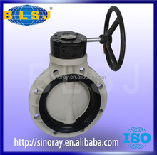 PPH Worm gear flange connection butterfly valve