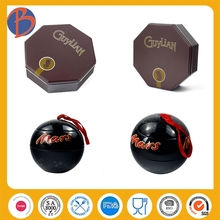 New design portable candy tin box with hinge custom chocolate ellipse metal tin box tin metal empty chocolate truffle boxes